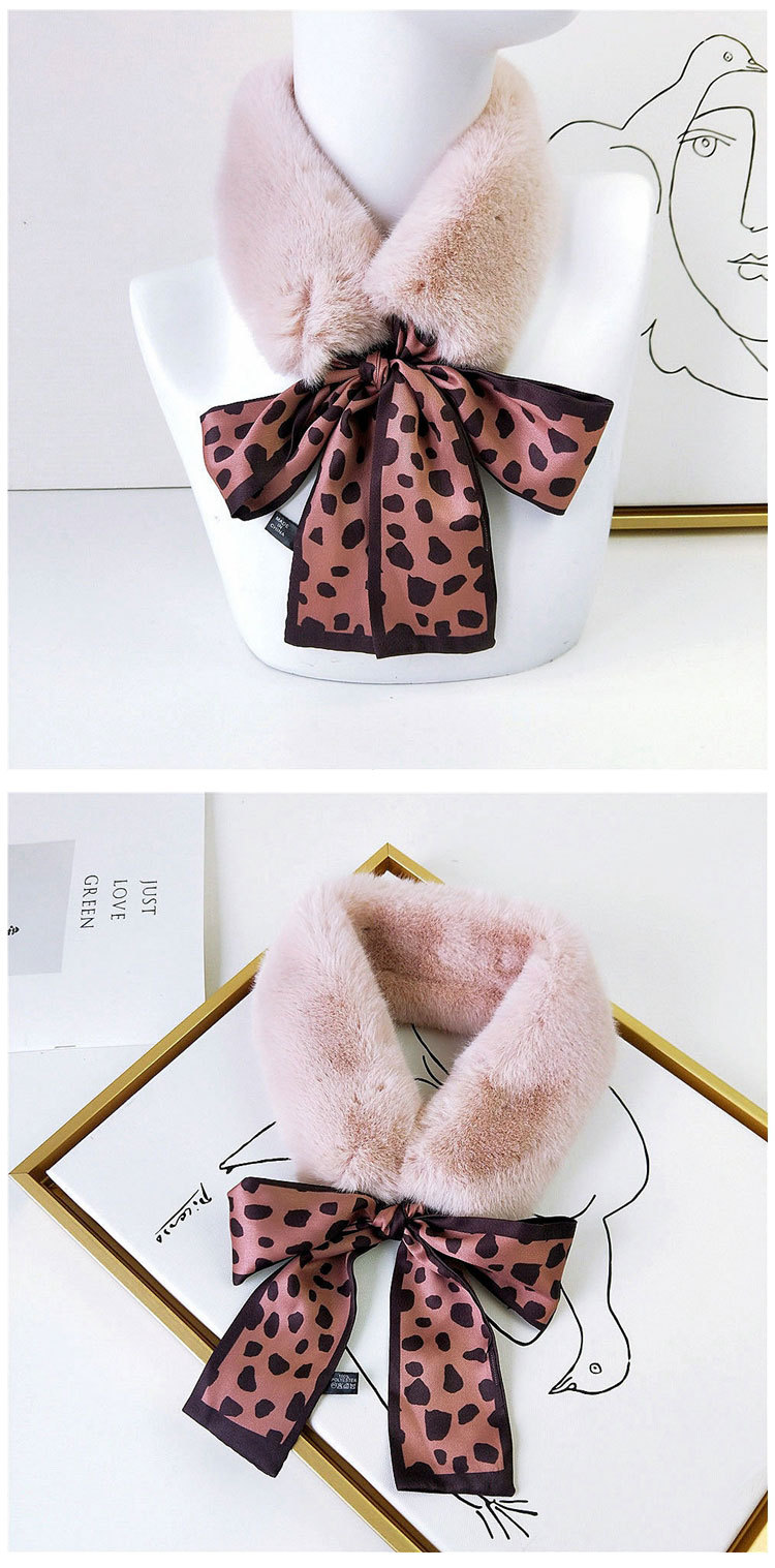 He9d206632168434e9a3a50e8555bb7ddW - New Long Skinny Silk Letter Leopard Printed Hair Head Scarf with Winter Warm Faux Fur Neck Collar Scarves for Women Foulard