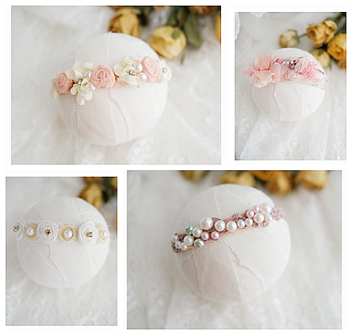Newborn Photography Props Baby Headband Flower Hairband Infantil Photo Pearl Headdress Baby Shooting Accessories Headwear