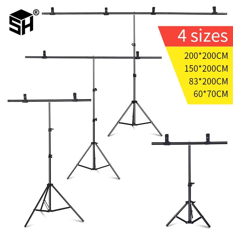 Marco de fondo fotografía telón de fondo en forma de T soporte sistema de soporte fondos de Metal para estudio fotográfico varios tamaños