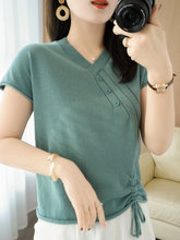 T-shirt femme 2021 été col v coton pull femme couleur uni décontracté hauts grande taille femme vêtements t-shirts slim pull en tricot