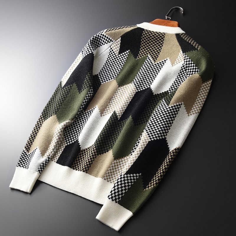 대비 색 양모 남성 럭셔리 기하학 라운드 칼라 슬림 피트 망 스웨터 플러스 크기 4xl 풀 오버 남자 스웨터