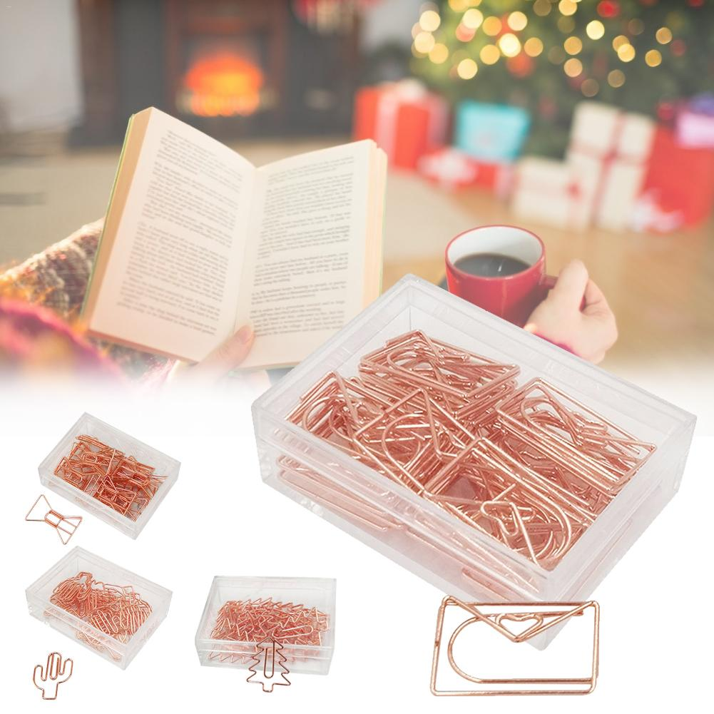 20PCS Paper Clips Christmas Tree Bow Envelope Cactus Clips Rose Gold Office Accessories DIY Decorations For Scrapbook Notebook