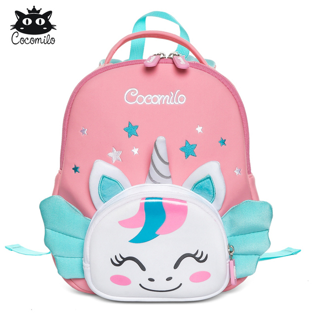 Cocomilo 3D Cartoon Unicorn Kids School Bag Kawaii Soft Pink Unicorn Cute Kindergarten Backpack Toddler Baby Bag Children Gift