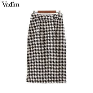 Image 2 - Vadim women elegant tweed houndstooth plaid midi skirt bow tie belt button decorate office wear chic mid calf skirts BA844
