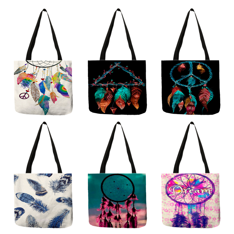 Bohemian Style Dream Catcher Girls Handbag Practical Daily Office Linen Tote Bag Feather Print Shoulder Bags For Shopping Travel
