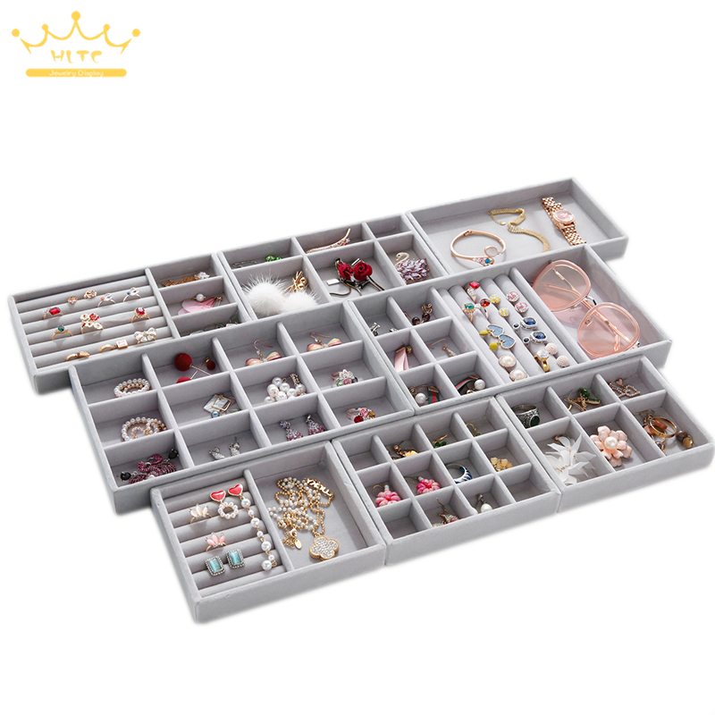 Grey Velvet DIY Jewelry Storage Tray Ring Bracelet Gift Box Jewellery Organizer Earring Holder Small Size Fit Most Room Space