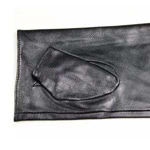 Image 3 - Leather sheepskin half finger gloves long ladies mitts velvet lining spring and autumn driving gloves 22 cm length