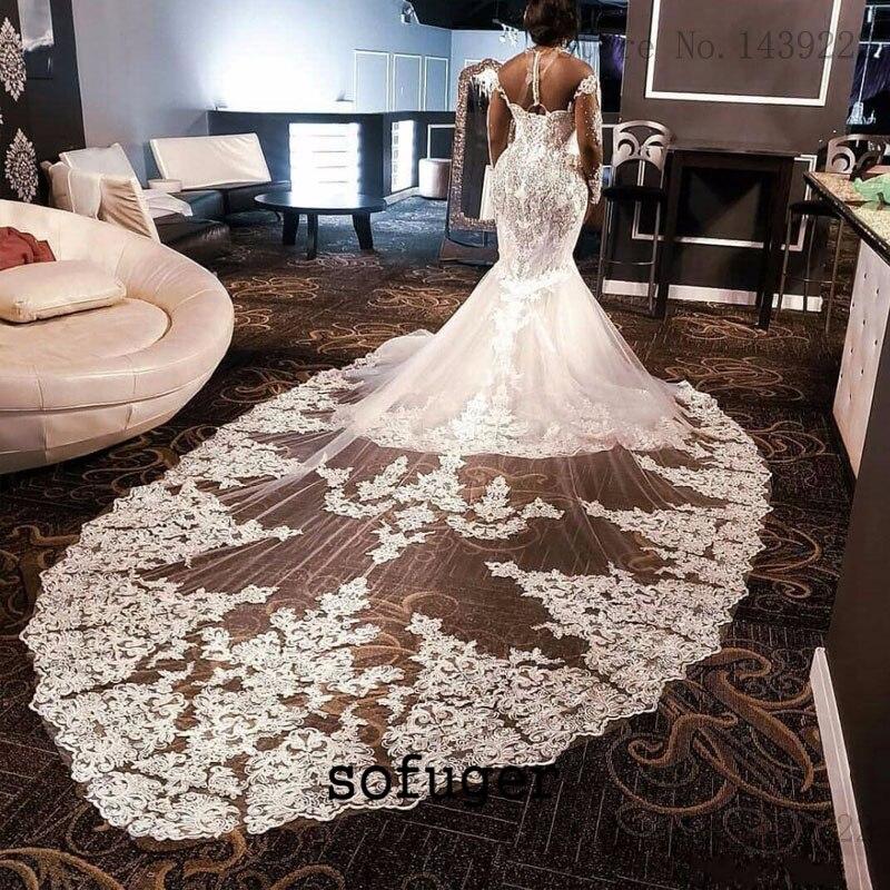 Luxury White Vintage Vestidos De Novia Mermaid Wedding Dress Brush Train Appliques Bridal Gowns Beads  Robe De Marie
