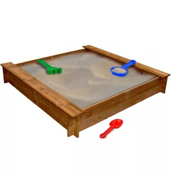 VidaXL устойчивая к гниению песочница FSC деревянная квадратная 120X120X20 см (Д X Ш X В) подходит для детей в возрасте 3 + развлечения на открытом возду...