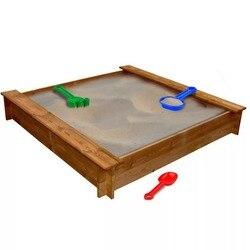 VidaXL Rot-Beständig Sandkasten FSC Holz Platz 120X120X20 Cm (L X W X H) geeignet Für Kinder Im Alter Von 3 + Outdoor Unterhaltung