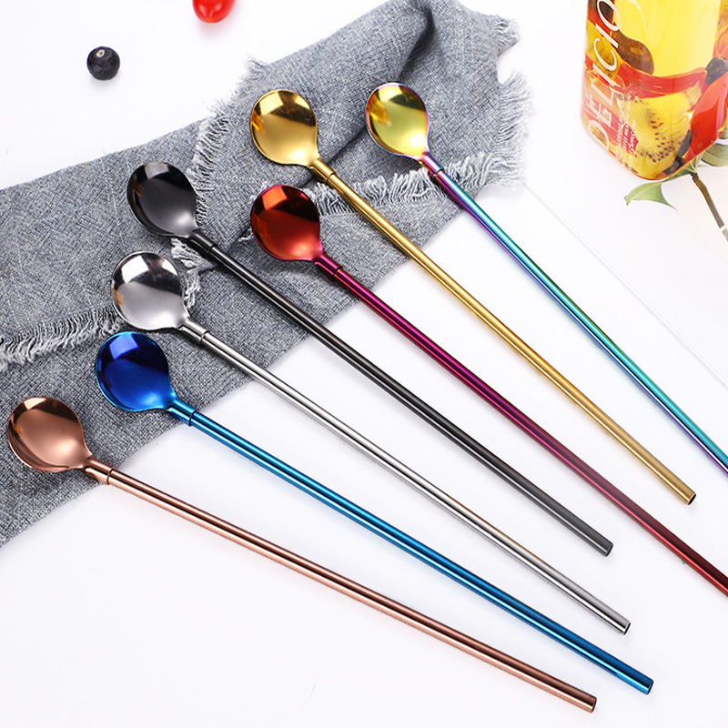 Cuillère de paille réutilisable en métal multicolore en acier inoxydable, cuillère longue pour boire, cuillère à thé, café, accessoires de fête