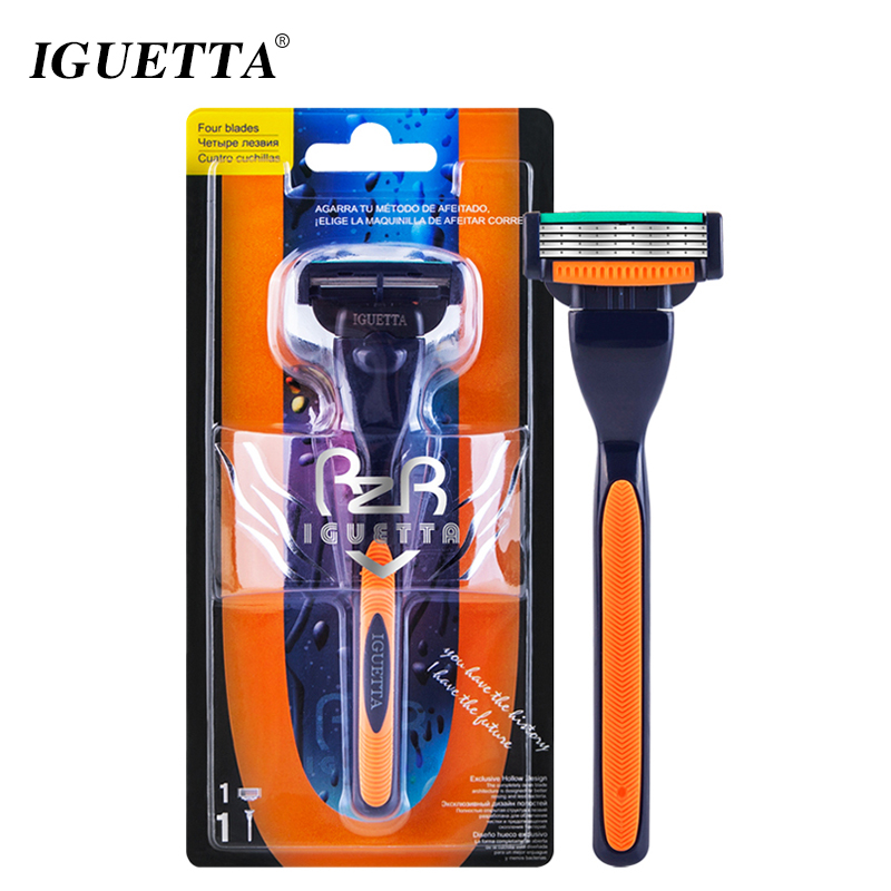 IGUETTA 1Handle&1Blade Razor Men Quality Steel Blade 4Layer Razor Blades Cartridge Shaving Razor For Men Beard Body Hair Remover