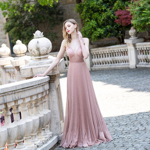 Beautiful Emerald Long Prom Dresses 2021 Beading Glitter V Neck Stretch Pleated Women Party Gown Sleeveless Elegant Real Photos