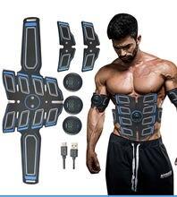 Ems estimulador muscular abdominal trainer usb carregável cintura corpo emagrecimento massageador + 3 controladores abs massagem abdominal novo