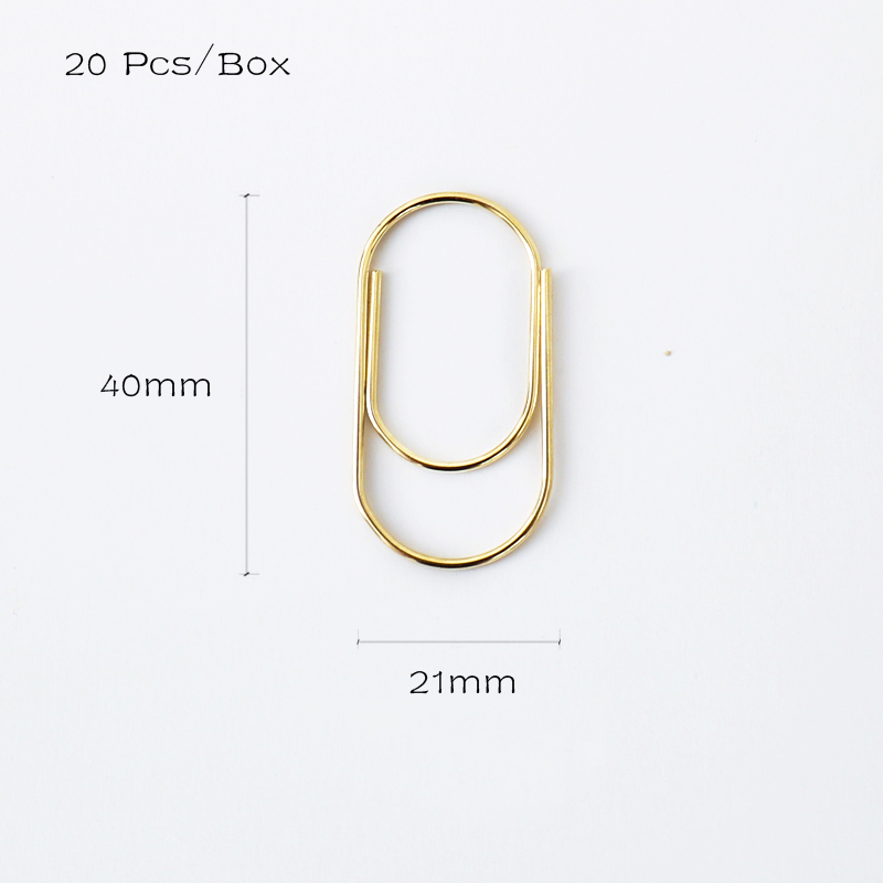 TUTU 20pcs/box 40x20mm Large Size Paper Clips Metal Clip Factory Supply Clips Wide Paper Clips School Accessories H0346