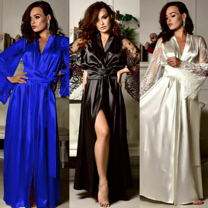 Sexy Women Night Dress Silk Satin Pajama Sleepwear Long Robes Nightwear Gown Set