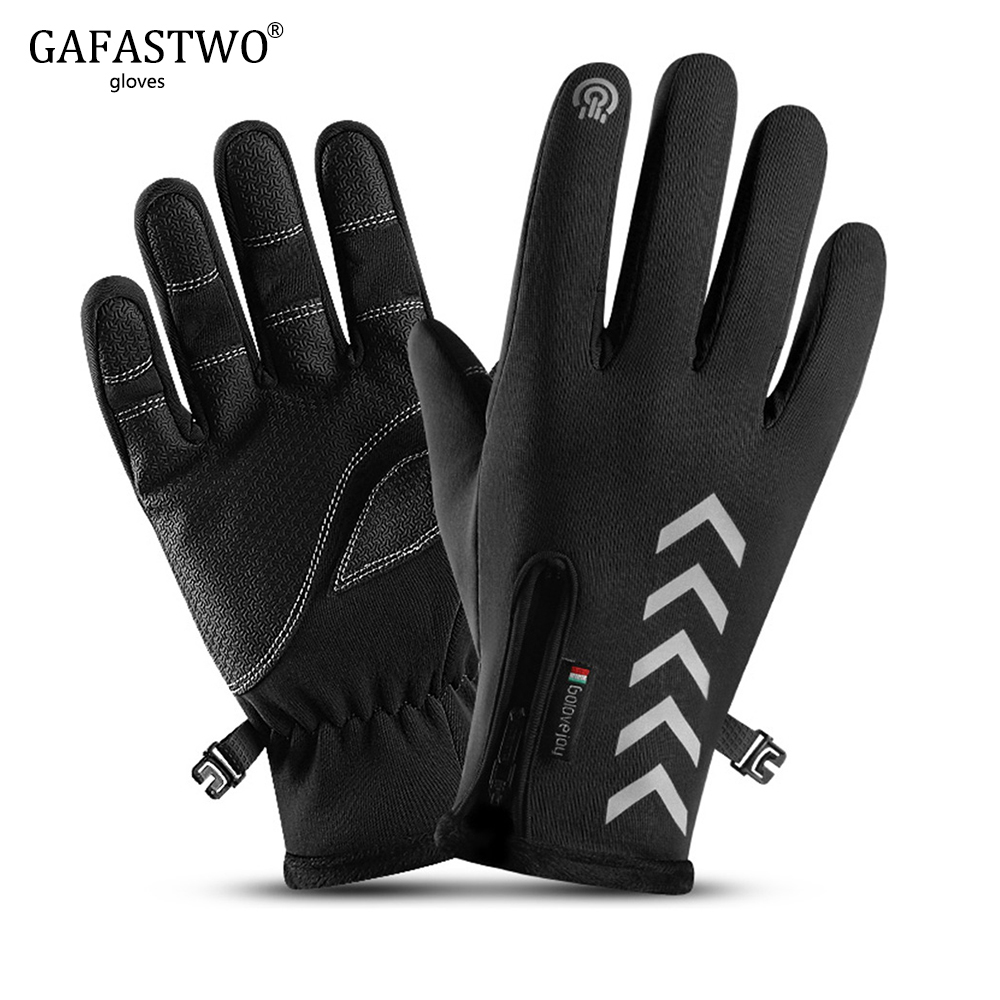 Winter Riding Warm Mens Gloves Fashion Womens Outdoor Sport Non-Slip Waterproof Five-Finger Touch Screen Night Reflective Gloves