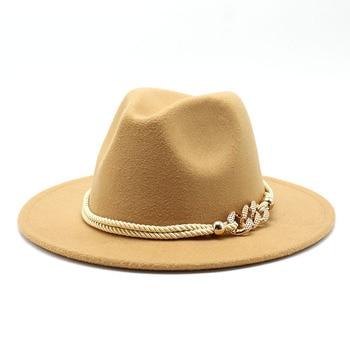 Black/white Wide Brim Simple Church Derby Top Hat Panama Solid Felt Fedoras Hat for Men Women artificial wool Blend Jazz Cap 21