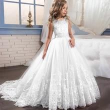Детское свадебное платье для девочек белое торжественное длинное кружевное платье принцессы для первого причастия вечернее платье для девочек, костюм для От 3 до 14 лет