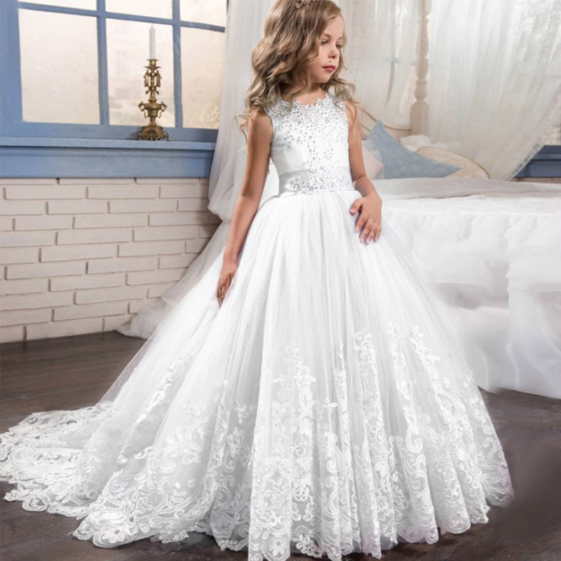 2020 Girl Children Wedding Dress White First Communion Formal Long Lace Princess Prom Dress Party For Girl 3-14 Year Costume