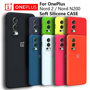 Oryginalny OnePlus Nord 2 przypadku wysokiej jakości płynnego silikonu miękkie etui do Nord N200 N10 N100 CE 5G 8 7 PRO pełna protectiver przypadku tanie i dobre opinie CN (pochodzenie) Częściowo przysłonięte etui Zwykły