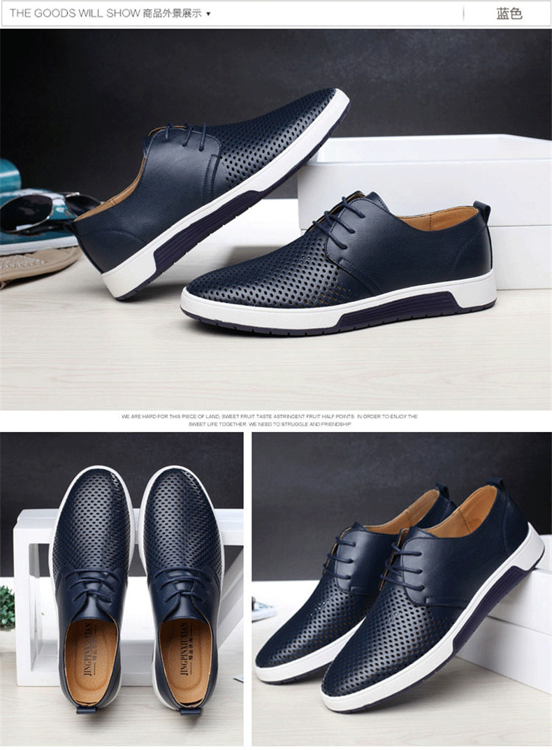 He9d337409d8649ba8237d18f85d5769dv New 2019 Men Casual Shoes Leather Summer Breathable Holes Luxurious Brand Flat Shoes for Men Drop Shipping