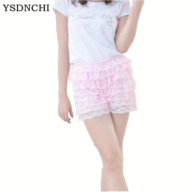 Women Shorts Vintage Mid Cotton Multilayer Deporte Polyester Plus Size Vintage Skirt Party Lace Female Pantalones Cortos W069
