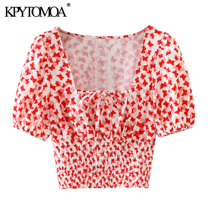 KPYTOMOA Women 2020 Fashion Printed Cropped Blouses Vintage Tied Square Collar Puff Sleeve Female Shirts Blusas Chic Tops