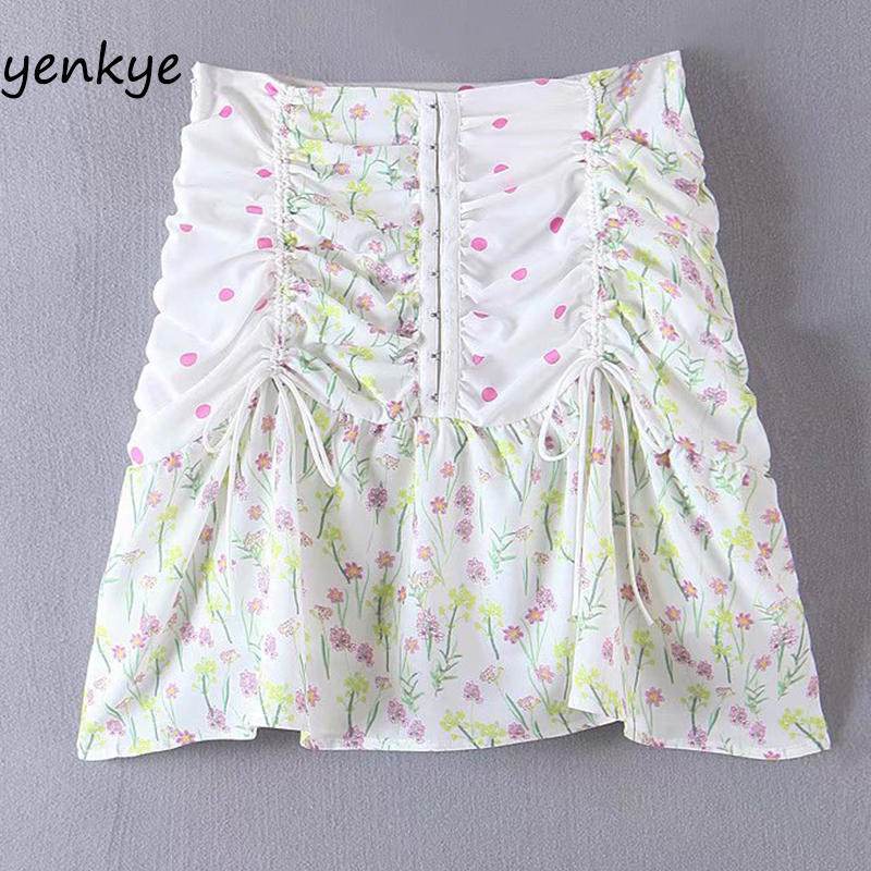 Sweet Floral Print Draped Drawstring Mini Skirt Women Side Zipper High Waist A-line Boho Skirt Summer Chiffon Jupe Femme  YF7456