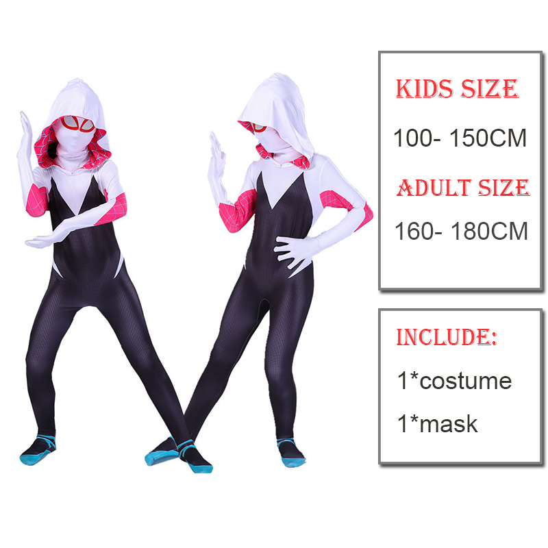 Reyee Spider Gwen Stacy Costume Lycra Spandex Superhero Spiderman Women Zentai Halloween Cosplay Bodysuit for Adults//Kids