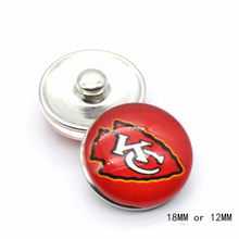 Snap Button 18mm 12mm Kansas City Chiefs Charms Ginger Bracelet for Women Men Football Fans Gift Paty Birthday Fashion 2019(China)