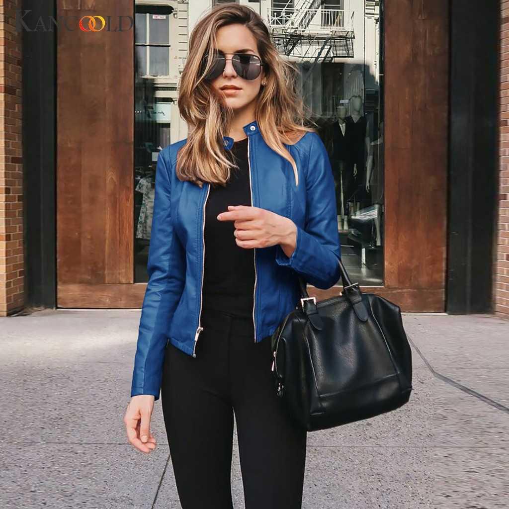 KANCOOLD mäntel Frauen PU Langarm Offene Vordere Kurze Strickjacke Anzug Jacke Winter Top Stand Mode neue Mantel frauen 2019DEC4