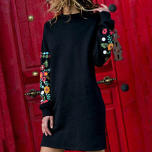 GUMNHU Autumn 2019 Winter Dresses Women Casual Long Sleeve Floral Embroidery Sweatshirt Dress Party Wear Short Vestidos