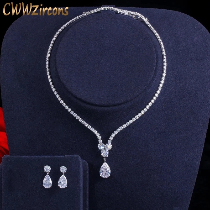 CWWZircons Fashion Cubic Zirconia Water Drop Pendant Necklace and Earrings Bridal Wedding Jewelry Sets for Brides Party T397