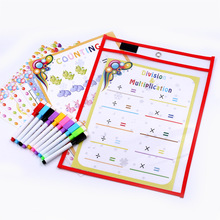 10pc Reusable Dry Erasable Pockets Transparent Write And Wipe Drawing Board Dry Brush Bag File Pocket For Teaching Kids Pastels