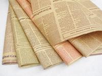 45pcs/lot 52*75cm English Newspaper Retro Letters Printing Flowers Wrapping Paper Flower Packing Material Kraft Paper Package