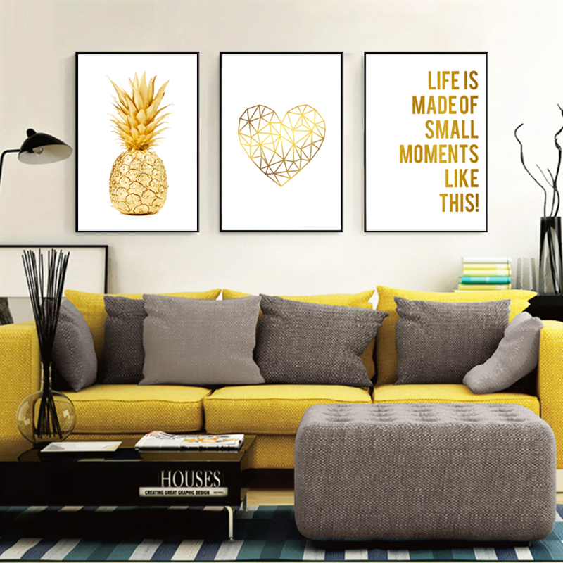 Nordic Wall Art Canvas Painting Quotes Yellow Home Decor Pineapple Posters And Prints Wall Pictures For Living Room Unframed