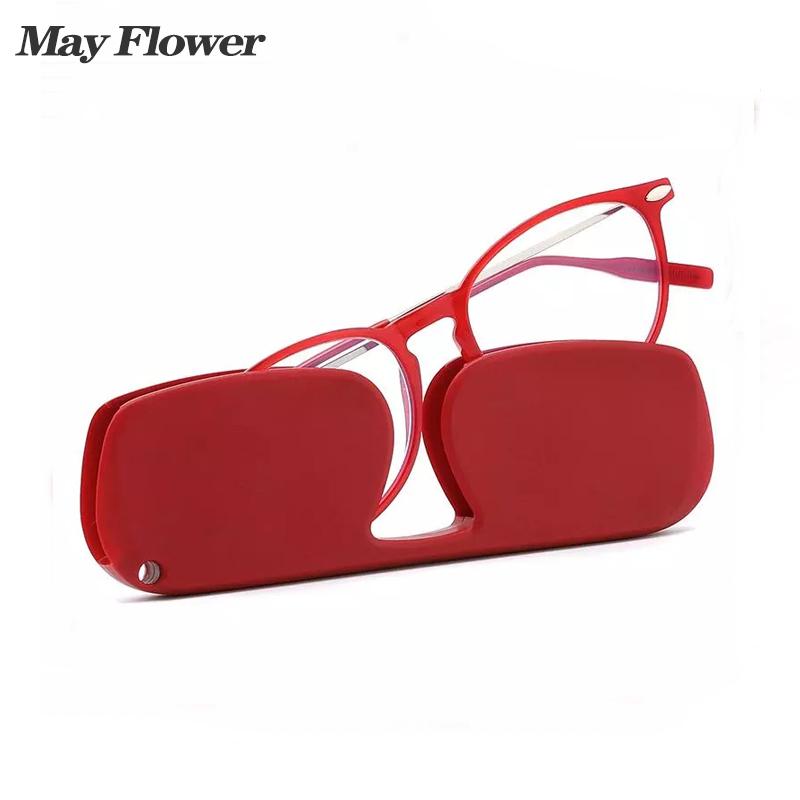 May Flower Women's Eyeglasses Frame Anti Blue Reading Glasses Portable Round Transparent Glasses Computer Lenses Corrente Oculos