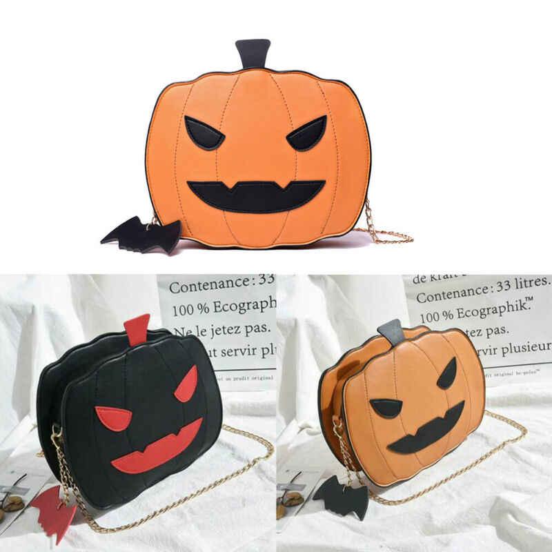 Menina halloween abóbora em forma de demônio mensageiro bolsa de ombro bolsa casual
