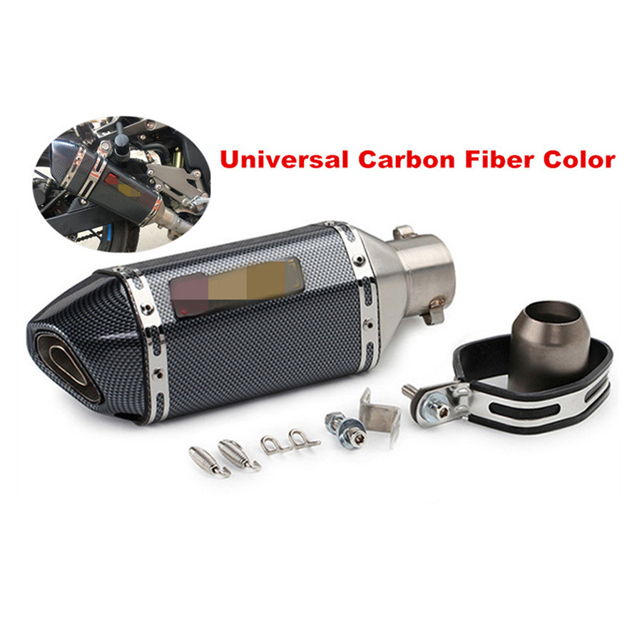 Universal Motorcycle ATV Exhaust Muffler Pipe Carbon Fiber Color Stainless Steel Inlet 36 51mm With DB Killer For CB600 CBR300