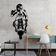 Наклейка на стену из ПВХ с изображением мотоцикла настенная