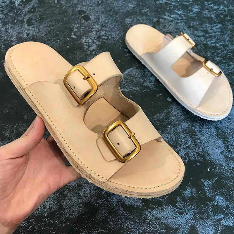 Mode echt lederen casual schoenen mannen wandelen strand slippers heren slippers handgemaakte lederen sandalen - 6