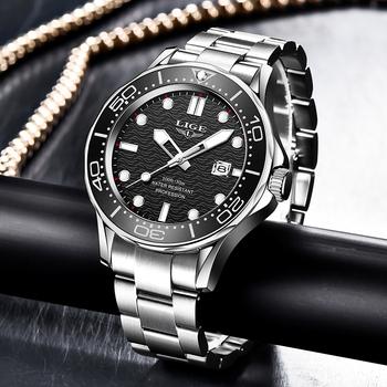 2021 LIGE nowy wodoodporny zegarek mężczyźni Top marka luksusowy mężczyzna ze stali nierdzewnej zegarek moda Casual Sport mężczyźni kwarcowe zegarki na rękę z datownikiem tanie i dobre opinie 22cm Moda casual QUARTZ 3Bar Klamerka z zapięciem CN (pochodzenie) STAINLESS STEEL 13mm Hardlex Papier 41mm LIGE8936