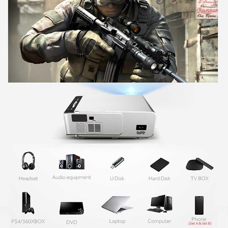 T6 Proyektor Mini 1280*720P 3500 Lumens, Opsional Android 10.0 TV Box, 3D Video LED Projector untuk 4K Full HD Permainan Home Cinema.