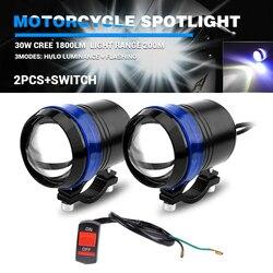 DERI LED Moto Farol Moto modernizacja motocykl reflektor Spot Light U2 Angel Eyes 2 sztuk U3 LED Chip oświetlenie 12V z przełącznikiem