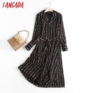 Tangada 2020 Autumn England Style Office Lady Fashion Elegant Chain Print Party Dress Women Vestidos 6D78