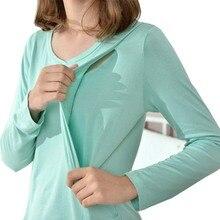2 шт./компл. с длинным рукавом для будущих мам Ночная Одежда для беременных и кормящих женщин одежда ночная рубашка для беременных