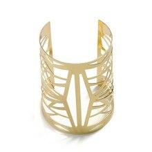 цена на Gold Color Metal Geometric Bracelet Bangle For Women Wedding Party Punk Rock Style Hollow Wide Bangle Cuff Bracelets Jewelry