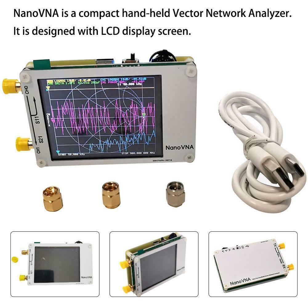 NanoVNA VNA Vector Network analyzer 50KHz -900MHz Touch LCD display HF VHF UHF Antenna Analyzer Standing Wave without battery