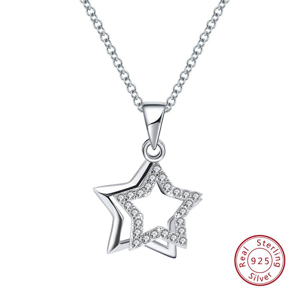 ORSA JEWELS 100% Real 925 Sterling Silver Pendants& Necklaces Shiny AAA Cubic Zircon Star Shape Women Fine Jewelry SN82